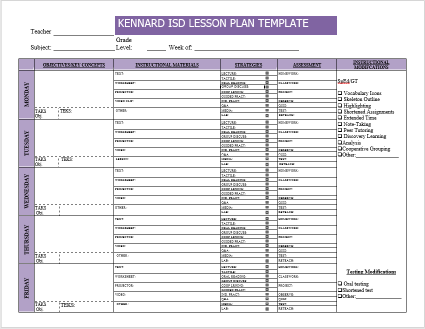weekly lesson plan word template 02