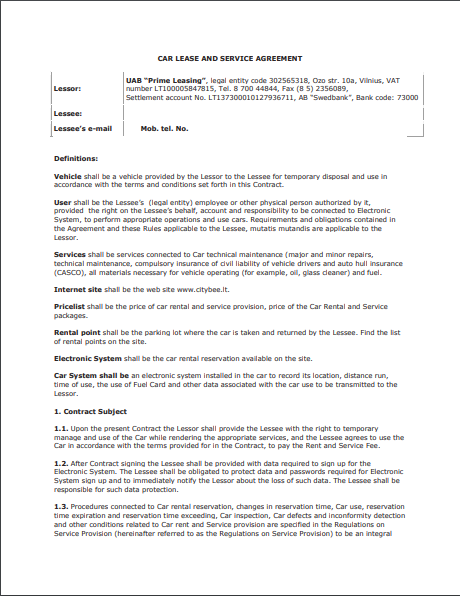 Car Lease Agreement Template 02
