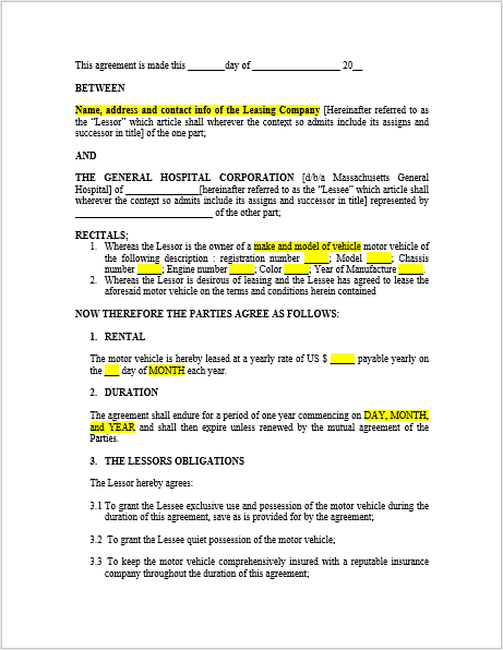 Car Lease Agreement Template 06