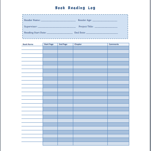 Book Reading Log Template