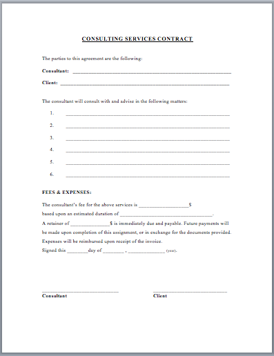Consultant Services Contract Template