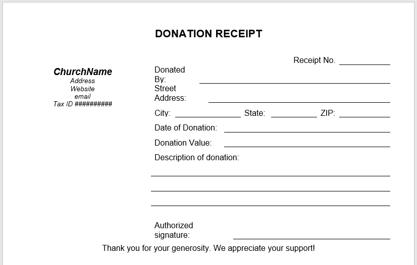 5 Free Donation Receipt Templates in MS Word Templates