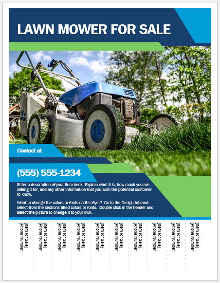Lawn Mower For Sale Flyer Template