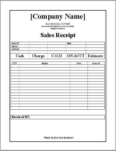 7 Free Sales Receipt Templates in MS Word Format - One Click Download