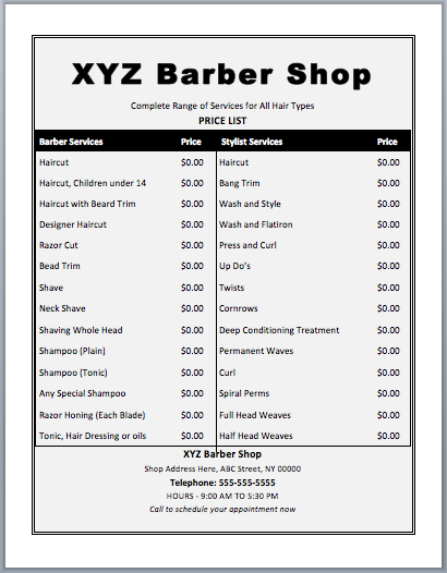 Barber Shop Price List Template