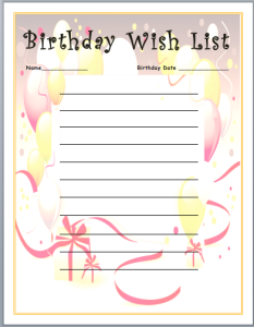 Birthday Wish List Template