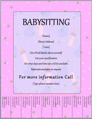 babysitter flyer template  tear off
