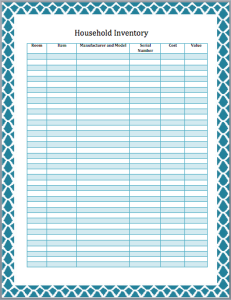 Household Inventory List Template