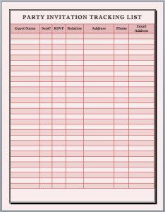 Party Invitation Tracking List Template