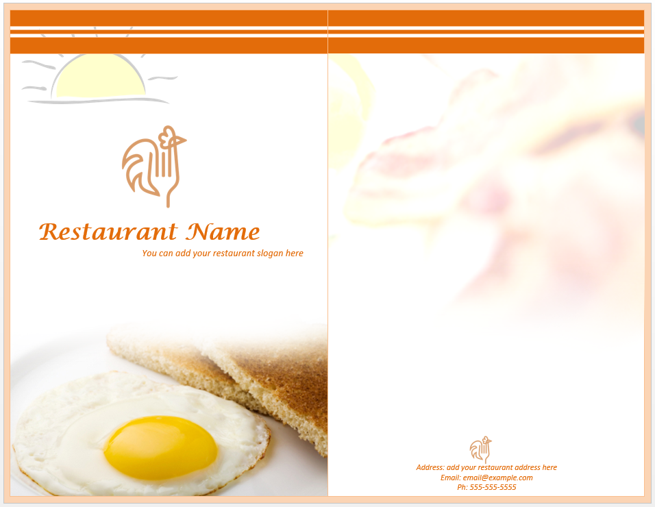 Breakfast menu template word templates for Breakfast lunch and dinner menu template