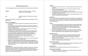 Work Change Agreement Template