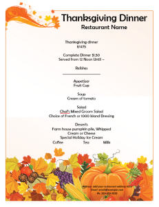 Thanksgiving Party Menu Template