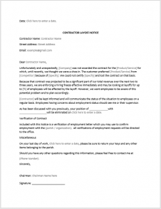 Contractor Layoff Notice Sample
