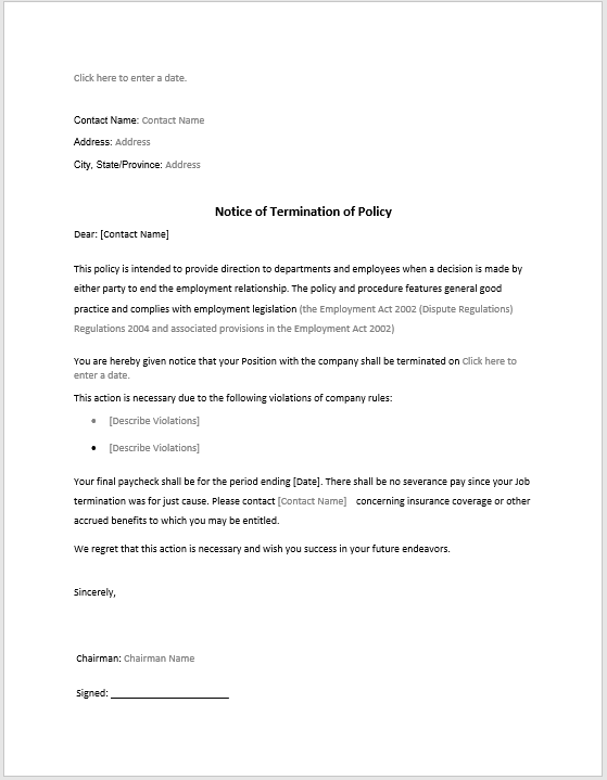 policy termination notice sample