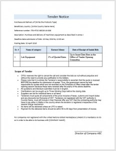 Tender Notice Template
