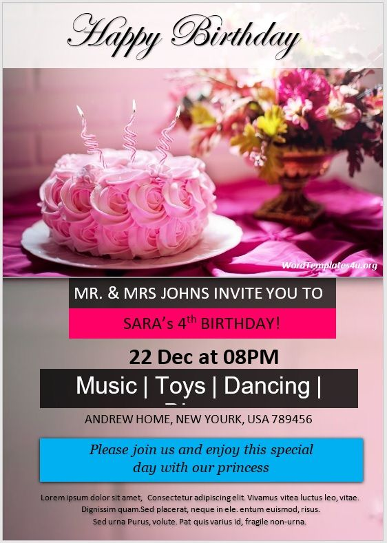 Birthday Invitation Flyer Template 01