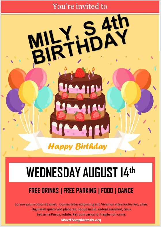 Birthday Invitation Flyer Template 03