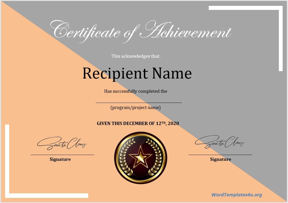 Achievement Certificate Template 01