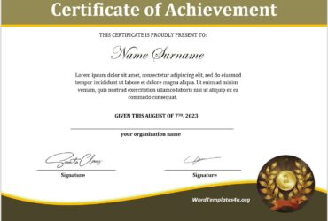 Achievement Certificate Template 02