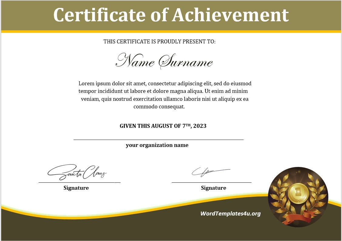 Achievement Certificate Template 02