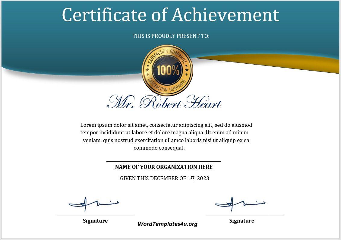 Achievement Certificate Template 07