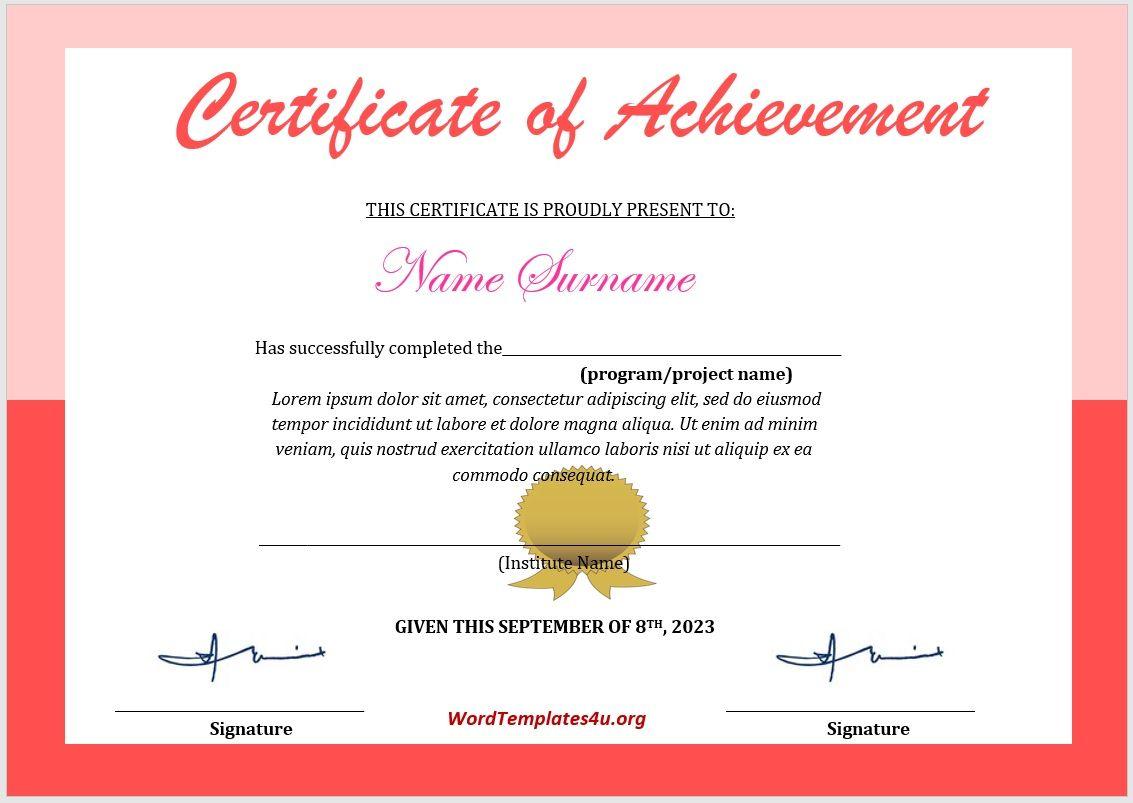Achievement Certificate Template 08
