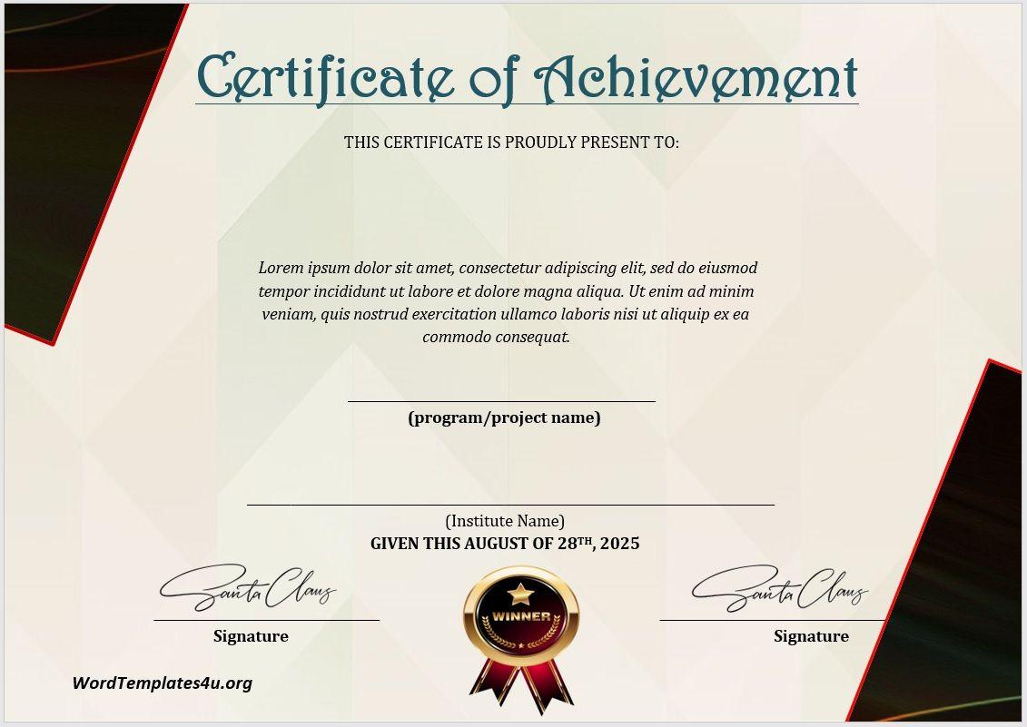 Achievement Certificate Template 09