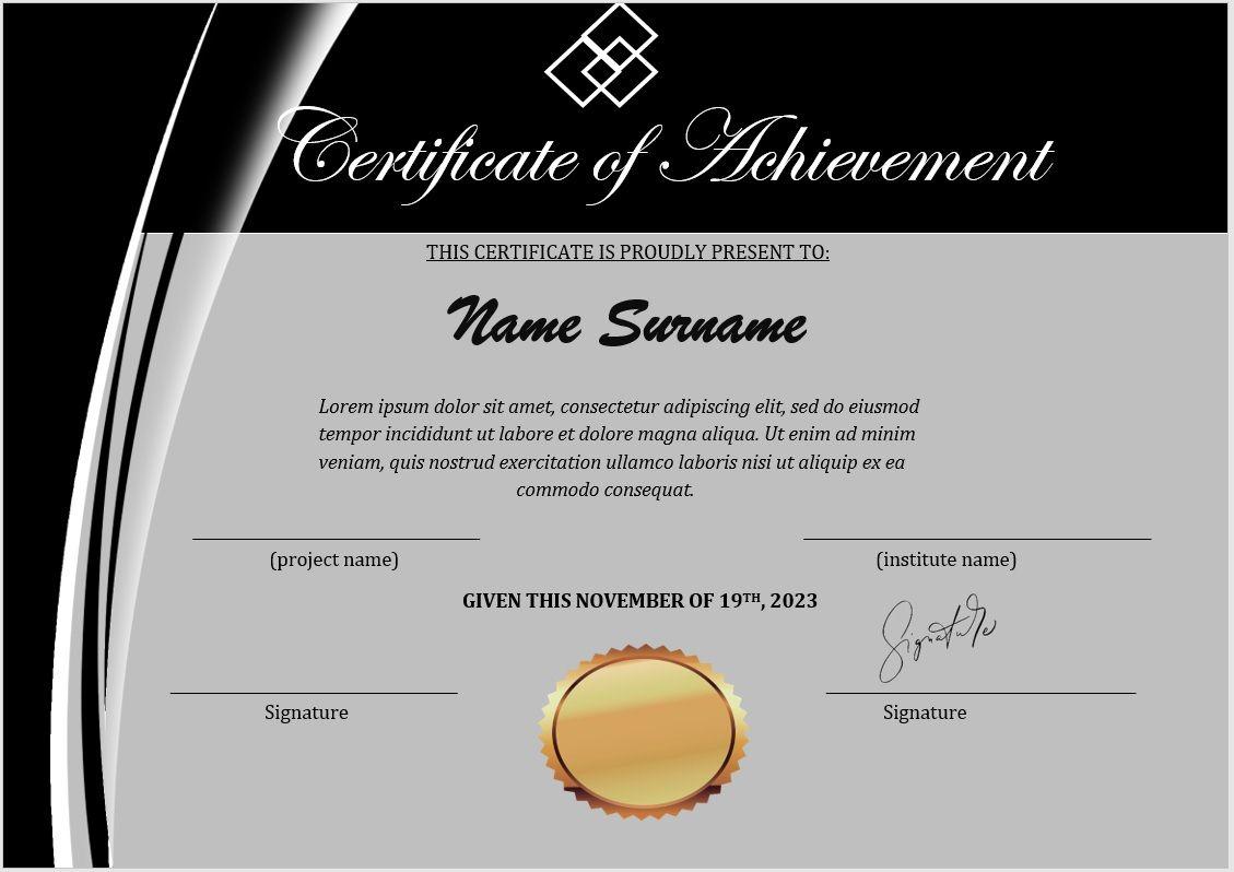 Achievement Certificate Template 10