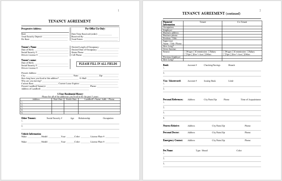 Tenancy Agreement Template 02