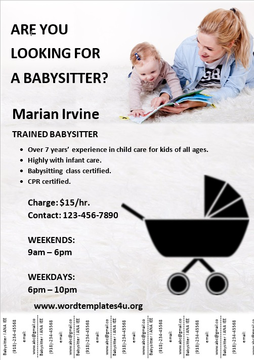 Babysitter Flyer Template (Tear Off)