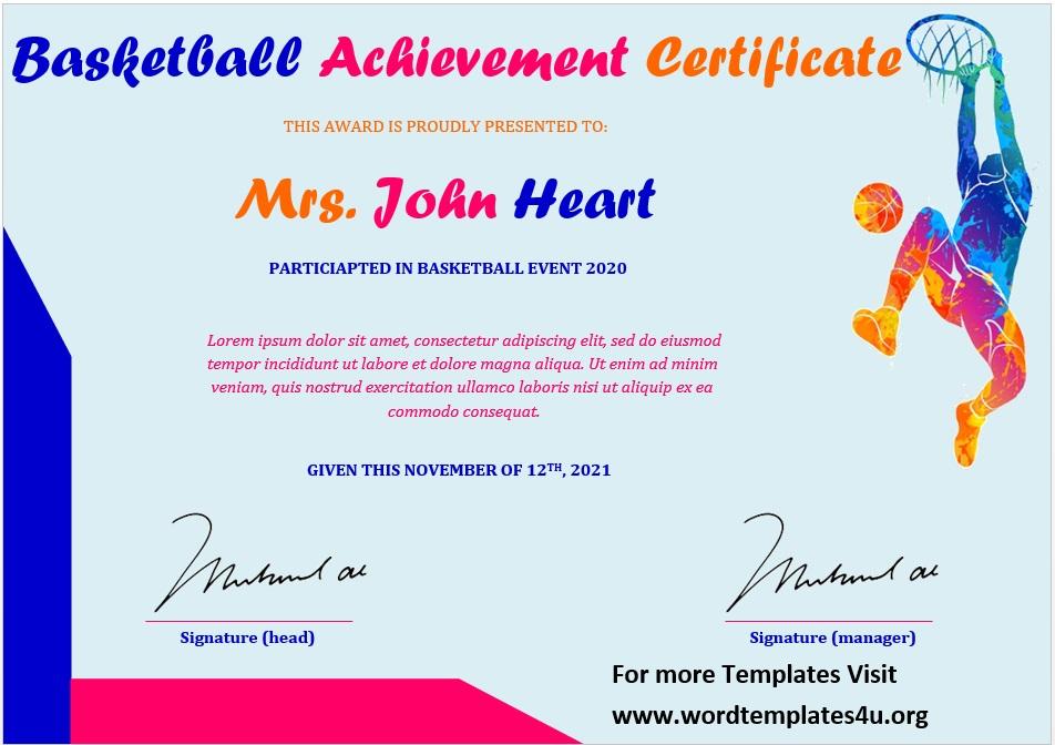 Basketball Certificate Template