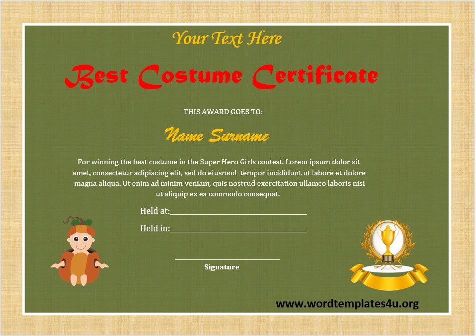 Best Costume Certificate Template