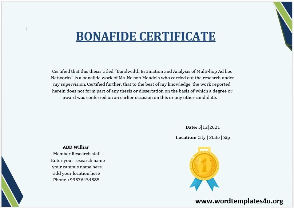 Bonafide Certificate Template