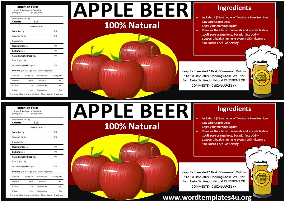Bottle Label Template