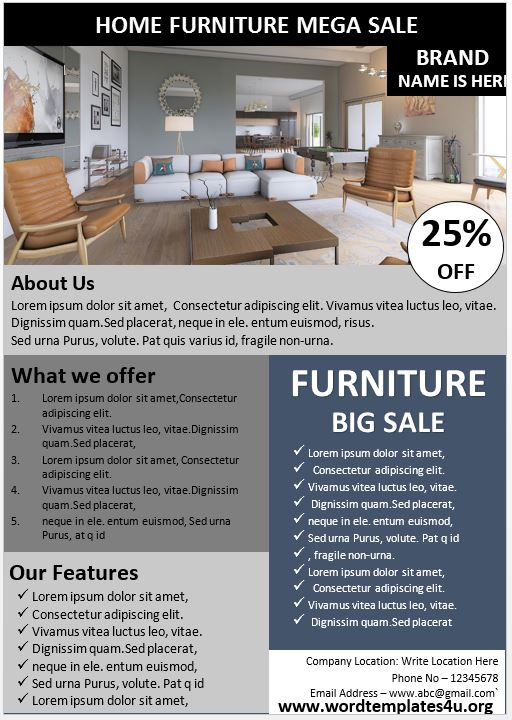 Furniture Sales Brochure Template