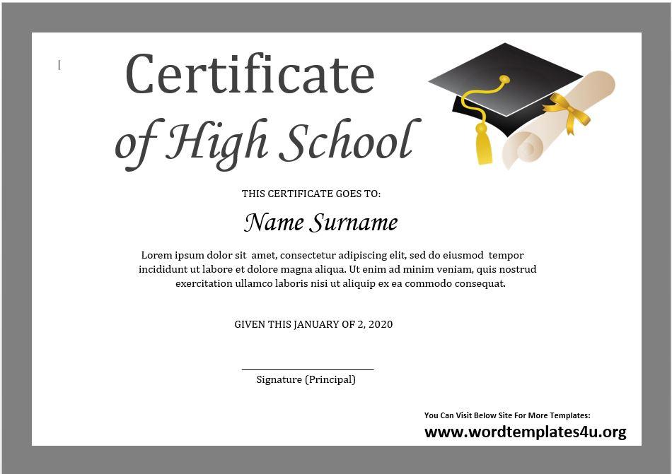 High School Certificate Template